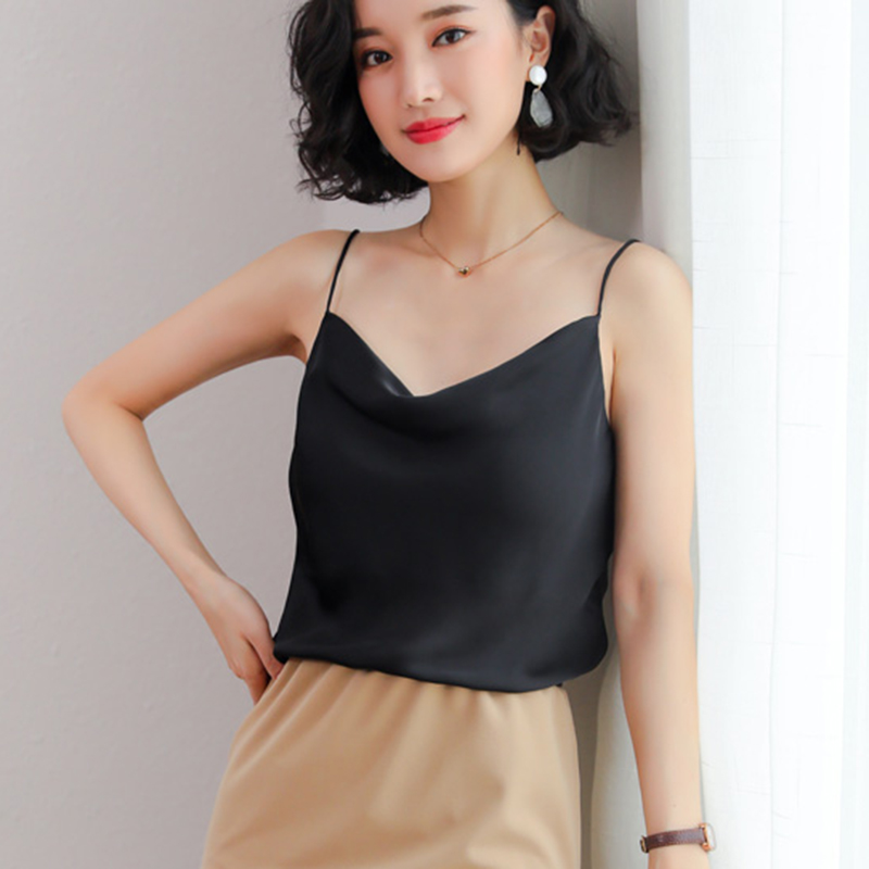 Tank     Top   Women Chiffon Blouses 2019 New Summer Sexy Sleeveless Faux Silk Shirt Cami Loose Female Crop   Tops   Vest Ladies Black