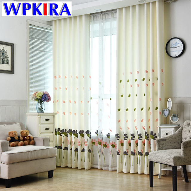 Korean Window Curtains Living Room Embroidered Flower Curtains Transparent  Tulle Drapery Bedroom Custom Living Room Curtain
