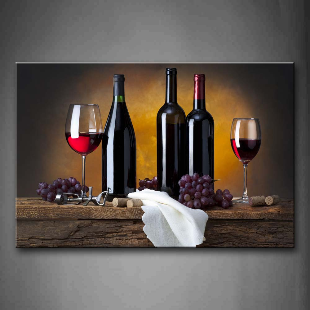 Unframed Wall Art Pictures Grape Wine Bottle Cups Canvas Print Modern Food Posters Without Frames For Living Room in Painting Calligraphy from Home Garden