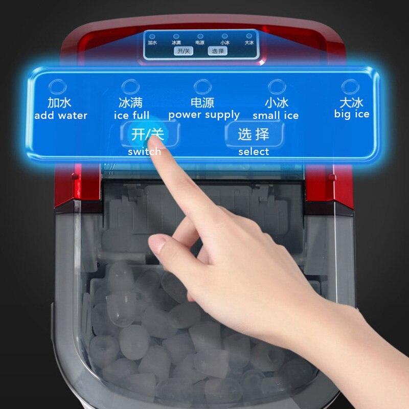 Machine à glace électrique à la maison de glace de balle de Machine à glace de 15 KG/24 H Machine de fabrication de glace ronde grand Bar café Teamilk Shop 220v rouge/argent - 6