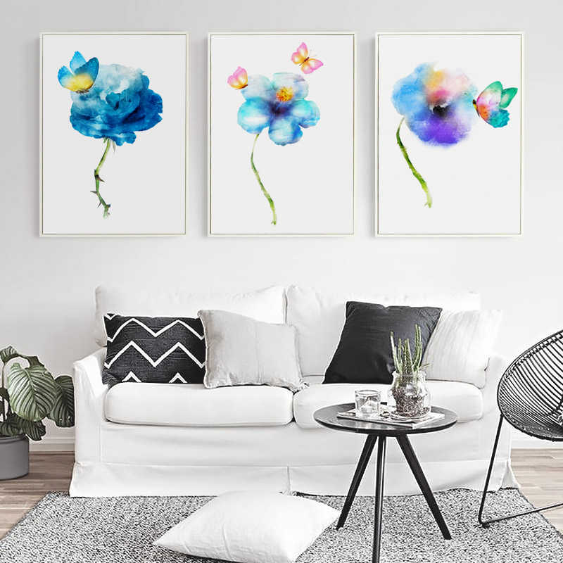 Gohipang Nordic Abstract Watercolor Flower Blue Rose Canvas Painting Art Print Poster Picture Art Wall Living Room Bedroom Home