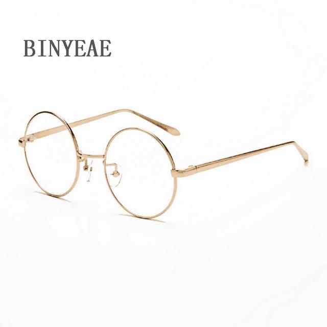 d75a2c2e7a Men women Round Sunglasses Retro Metal Frame Eyeglasses Korean Glasses  Optical Circle Plain Mirror