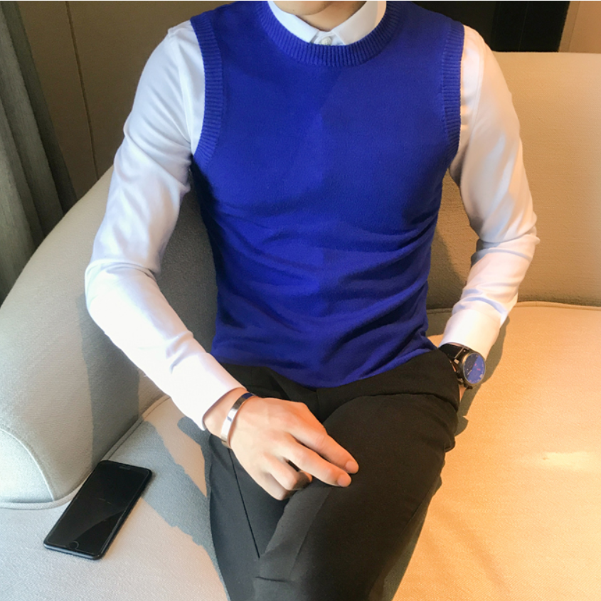 2019 Premium Brand Fashion Men's Spring Slim Fit Leisure Knit Sweaters/Male High Quality Cotton Leisure Set Head Knit Vest