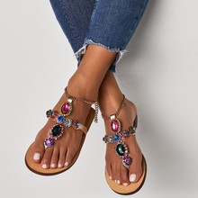 2019 Fashion Ladies Rome Rhinestone Sandals Casual Flat-bottomed Womens Shoes Metal Chain Buckle Size 4-16