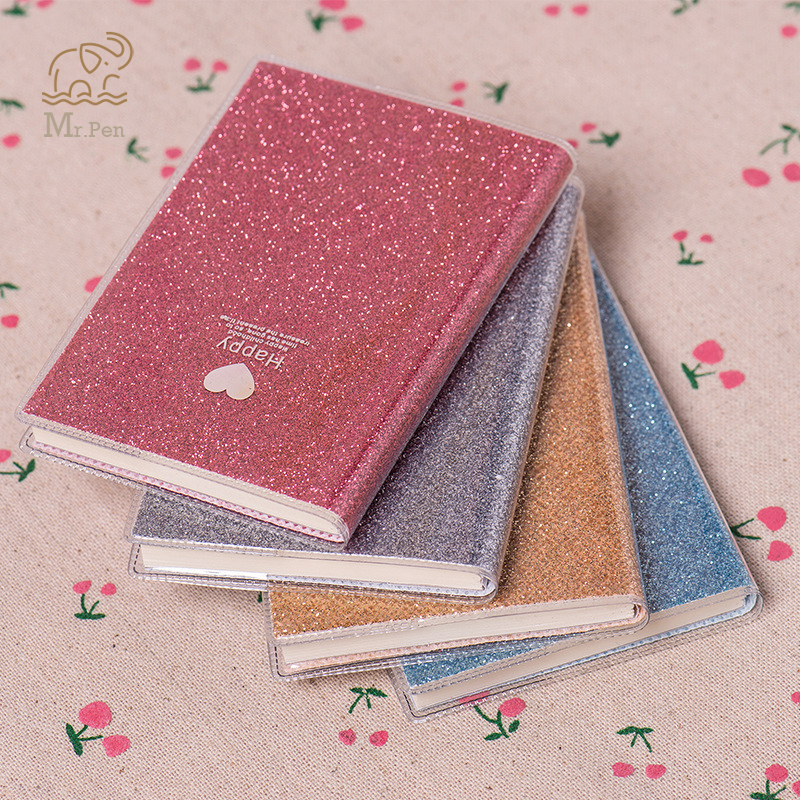 Mini Love Heart PVC Notebook Paper Diary School Shiny Cool Kawaii Notebook Paper Agenda Schedule Planner Sketchbook Girl Gifts