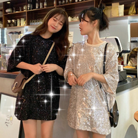 2 Colors Mihoshop Ulzzang Korean Korea Women Fashion Clothing High Street Casual Bling Bling Sequins Short Sleeve T shirt