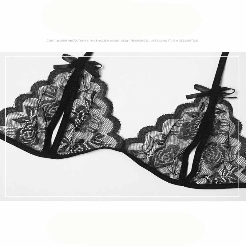 ホットレースセクシーなブラセットは、シームレスな刺繍 Bralette オープンクロッチのエロランジェリープラスサイズ透明女性の下着セット