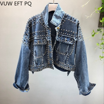 New Spring Women Jacket Denim Jeans  Rivet Beading Handwork Studded  Loose Outwear Female Students Casual  Denim Tops