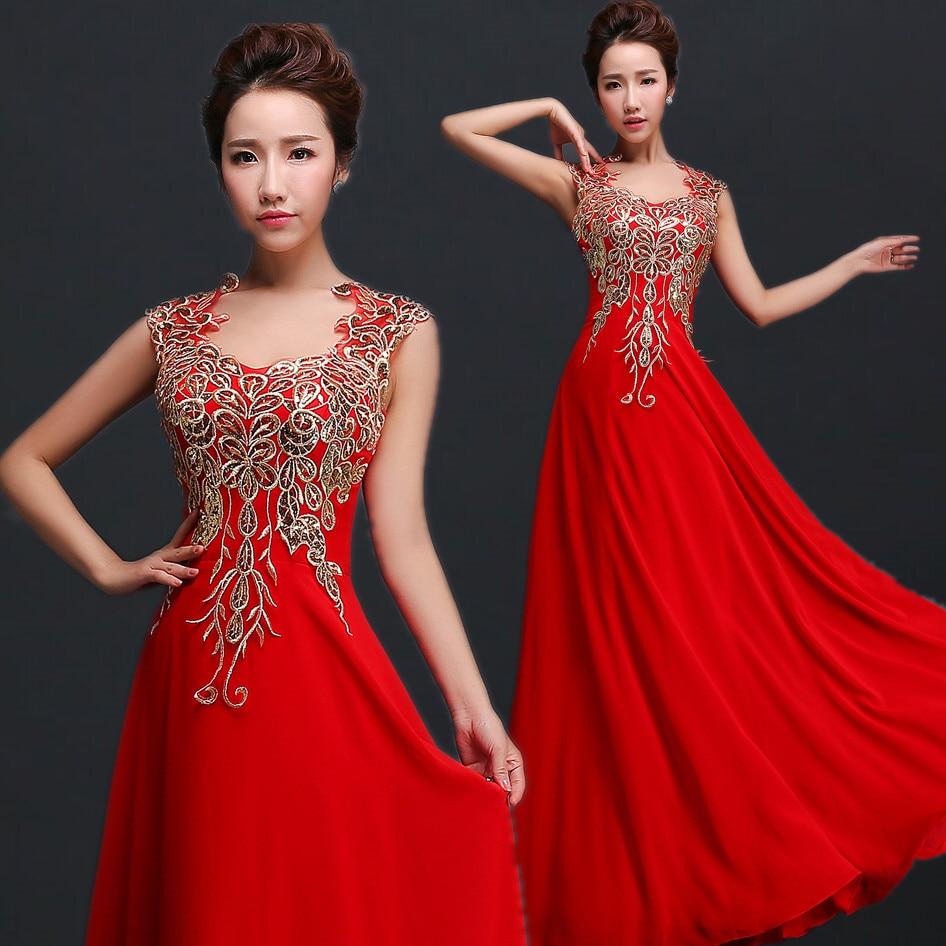 2017 spring bride dress slim design double-shoulder long red prom dress
