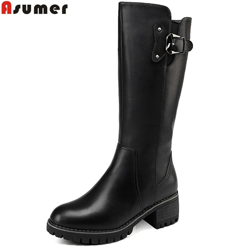 Asumer 2018 new women boots round toe zipper ladies genuine leather boots square heel wool keep warm cow leather mid calf boots spring black coffee genuine leather boots women sexy shoes western round toe zipper mid calf soft heel 3cm solid size 36 39 38
