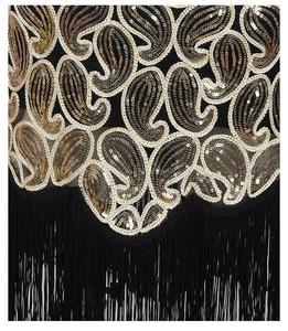 Image 3 - 여자 1920 년대 스팽글 페이즐리 무늬 민소매 레이서 백 플래퍼 블랙 골드 드레스 섹시한 프린지 그레이트 개츠비 파티 드레스