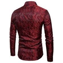 2018 New Brand Fashion Men's Night Club Dress Shirts High Quality Solid Pattern Long Sleeve Shirt Men Tuxedo Shirts EU/US size