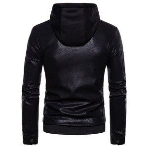 """Image 3 - רוכסן כפול עיצוב חורף סלעית עור בגדי מעיל גברים של מותג אופנה חדש עור jacket Slim fit האיחוד האירופי/ ארה""""ב גדול גודל"""