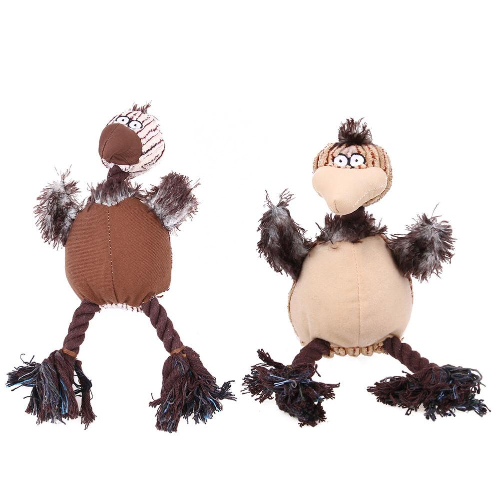 Corduroy Fabric Dog Toys Pet Puppy Chew Plush Cartoon Animals Squirrel Cotton Rope Bird Shape Bite Toys