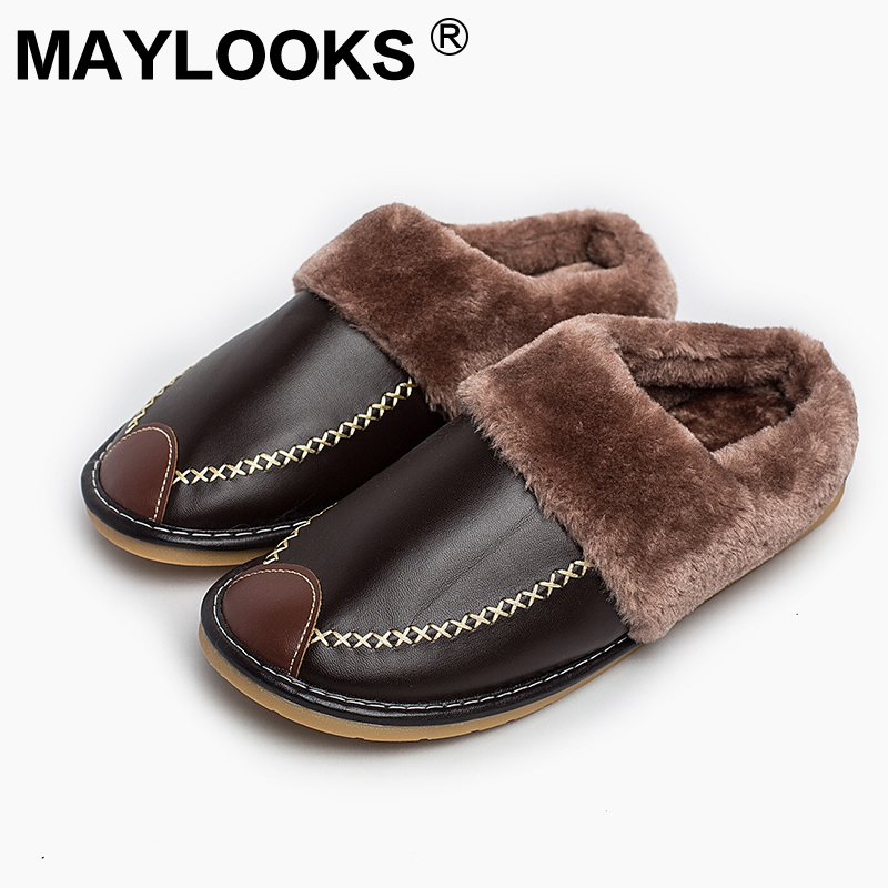 Heren Slippers Winter Pu leer dik met pluche Home Indoor antislip Thermische sloffen 2018 New Hot Sale Maylooks M-8835