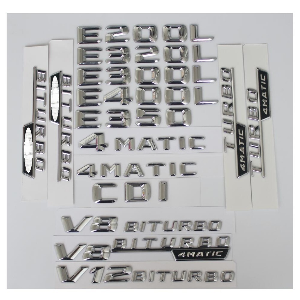 3D Chrome Letters Number Trunk Rear Badge <font><b>Emblem</b></font> <font><b>Emblems</b></font> Badges for <font><b>Mercedes</b></font> benz W212 <font><b>W211</b></font> W213 E200 E220 E250 E350 CDI 4MATIC image