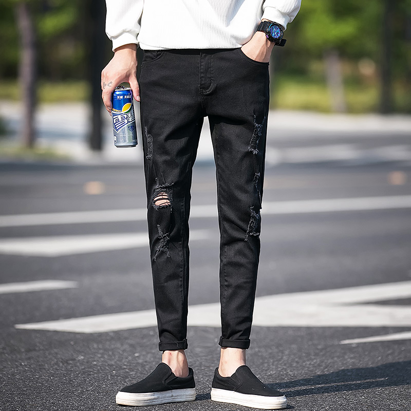 f9723fb8 High Quality Ripped Jeans Men Spring 2018 New Slim Fit Hole Mens Jeans  Casual Side Stripe Design Denim Pants ...