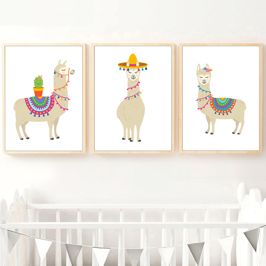 Wall Art Prints And Posters Cartoon Llama Cactus Nursery Art Prints Wall Art Canvas Painting Nordic Posters And Prints Wall Pictures Baby Kids Room Decor