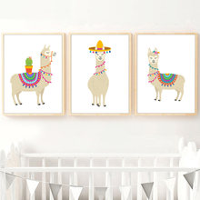 Cartoon Llama Cactus Nursery Art Prints Wall Art Canvas Painting Nordic Posters And Prints Wall Pictures Baby Kids Room Decor(China)