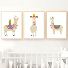 Cartoon Llama Cactus Nursery Wall Art Canvas Painting Nordic Posters And Prints Pictures Baby Kids Room Decor
