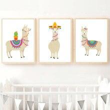 Toile d'art mural de dessin animé Llama Cactus pour pépinière, affiches et imprimés nordiques, images murales, chambre de bébé et enfants, imprimés d'art, décor