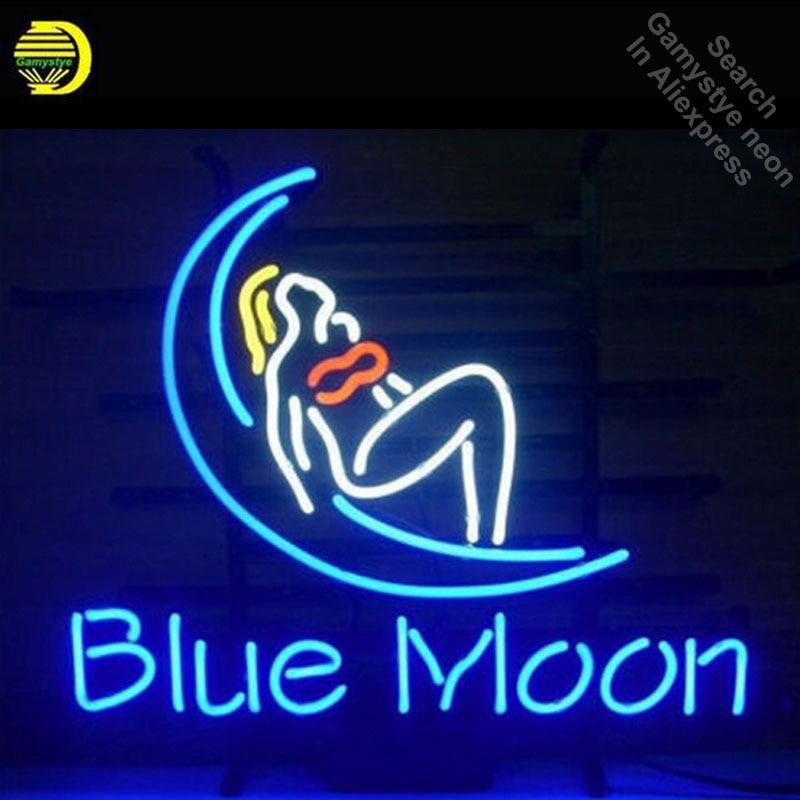 BLUE MOON Neon Sign Girl Glass Tube Cool Neon Bulbs Custom Beer Bar custom lighted sign pub SHOP Garage Display neon lights Sign