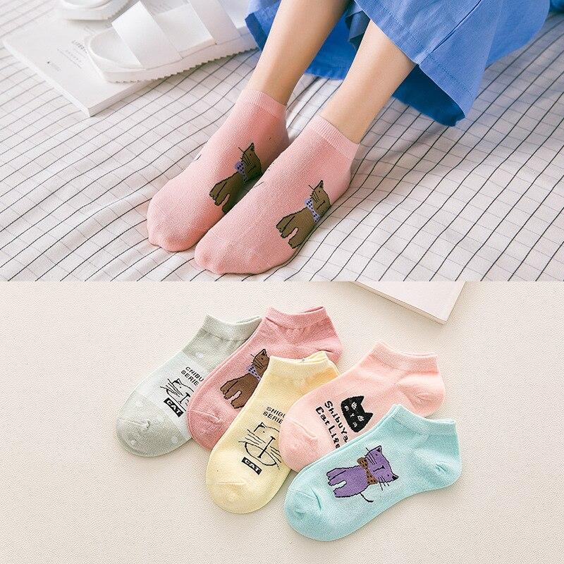 Cartoon Animal Short Socks Women Harajuku Cute Pattern Ankle Sock Hipster Funny Female Funky Cotton Sponge Sock Drop Shipping