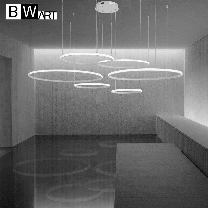 BWART modern led chandelier aluminum circle lights for Interior design engineering light Large Line hang LED