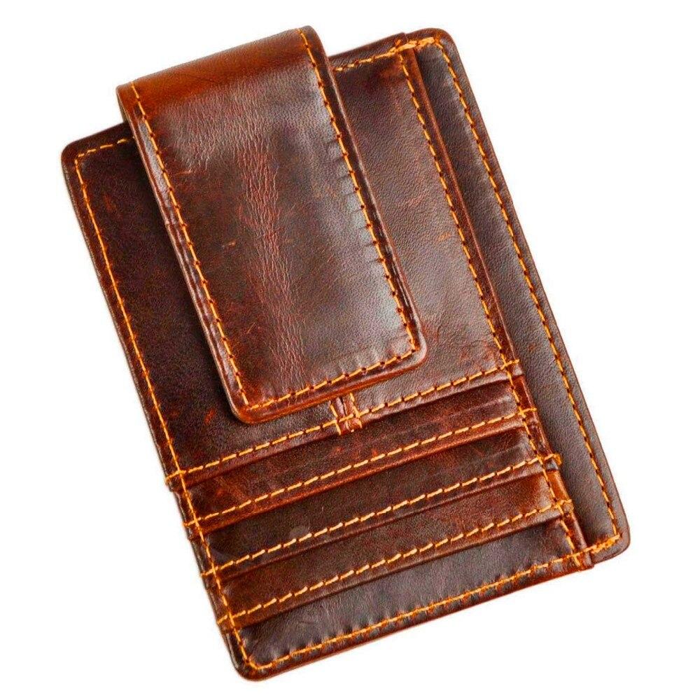 Male Quality Leather Designer Fashion Travel Slim Wallet Front Pocket Magnetic Money Clip Mini Card Case Purse For Men 1015c