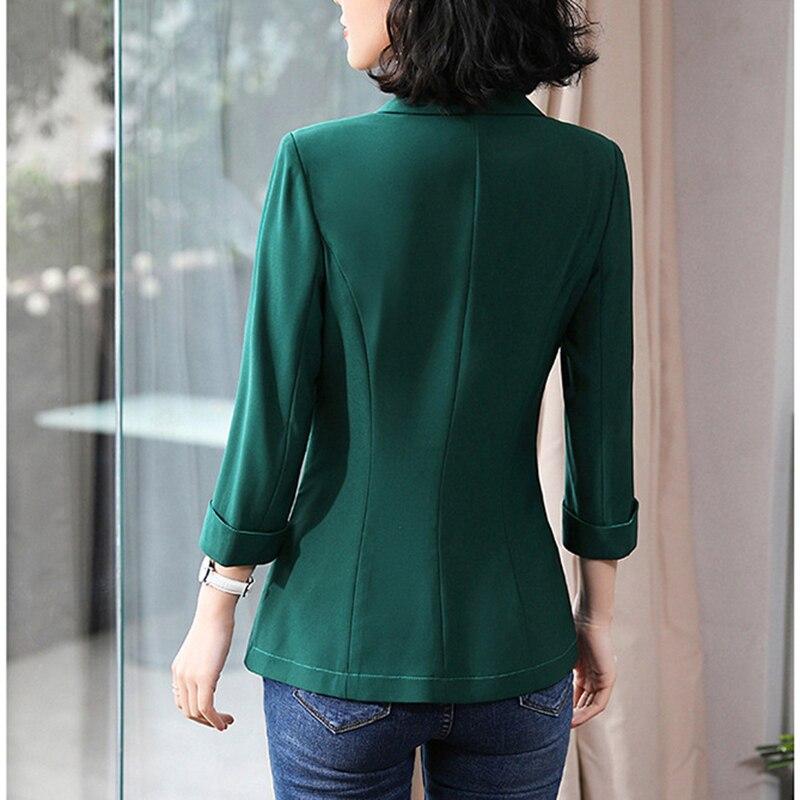 Women Blazer Polyester Blazer Mujer 2019 Solid Color Turn Down Collar Slim Seven-Quarter Sleeve Vogue Blazer New Arrive Fashion