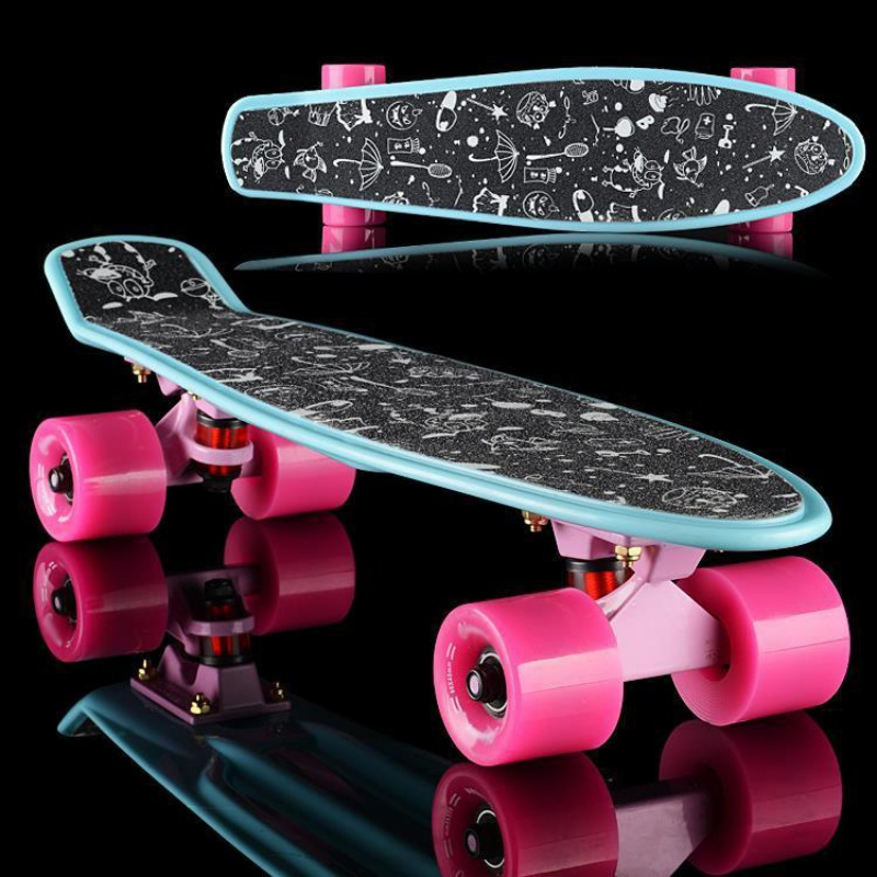 Professional Skateboard Sticker Solid/Printed Anti-slip Waterproof Adhesive Single Rocker Sandpaper For Penny Board
