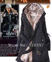 Ücretsiz HıZLı Kargo EMS (5-10DAYS) Faux kürk astarlı kadın kürk mantolar kış sıcak uzun ceket ceket elbise
