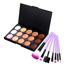 15 Color Face Concealer Makeup Palette+7PCS Makeup Brushes Eyelash Comb Eyeshadow Lip Foundation Brush Nake Contour Makeup Set