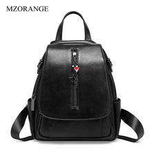 Anti-theft Design Women Backpack 100% Real Cowhide Leather Heart Strap Daily Casual Travel Bag Fashion Lady Beach Knapsack real cowhide backpack 2019 large capacity women backpack 100% genuine leather lady travel bag daily casual knapsack schoolbag female designer backpack bolsas