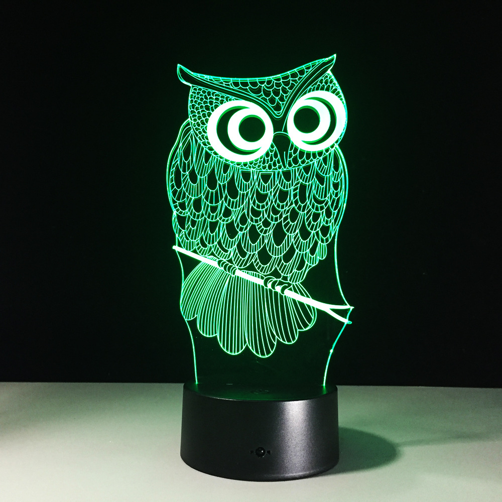 Owl novelty toy lamp 7 color changing visual illusion LED light Owl animal decro toy act ...