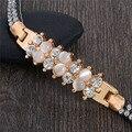 Moda multicolor rhinestone opal charm pulsera de piedra natural y cristal austriaco pulseras y brazaletes para mujeres