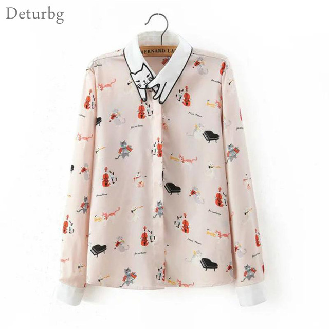 Women's Desigual Cat Embroidery Collar Blouse 2018 Casual Ladies Cats Print Long Sleeve Shirts Pink Blusas Mujer Br203
