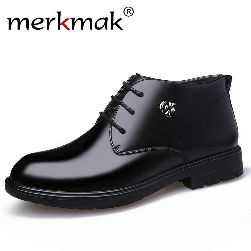 Merkmak 2019 Nieuwe mode High-top katoenen schoenen plus fluwelen winter mannen lederen schoenen casual warme Engeland katoen enkellaarsjes