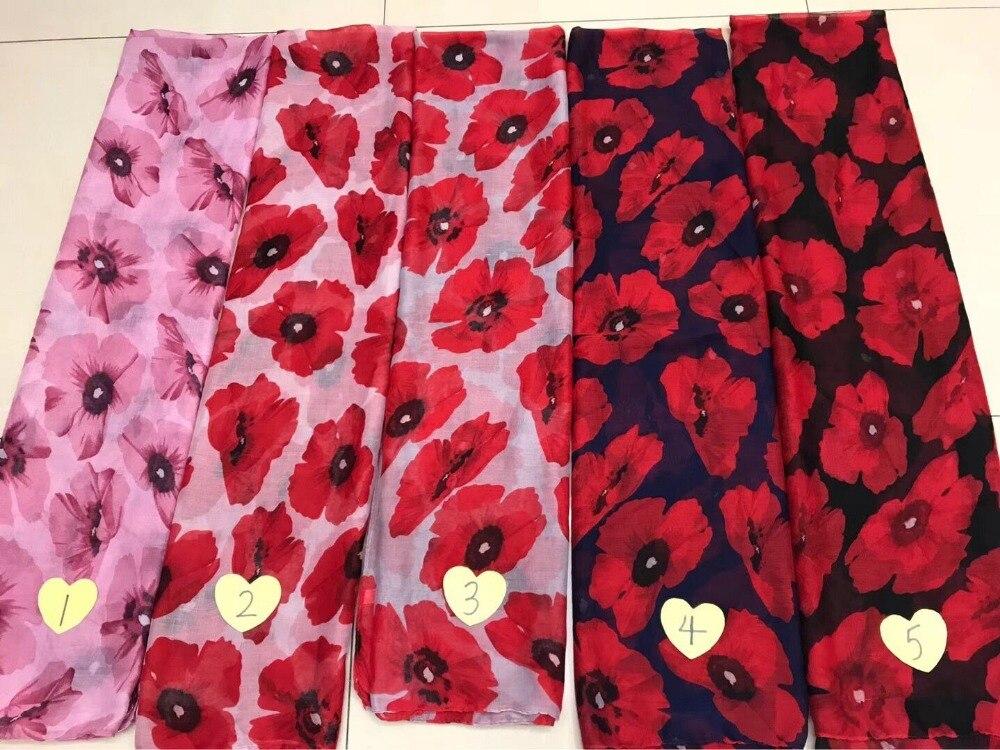 Newly Design Fashion Women Red Poppy Scarf Print Long Scarves Flower Beach Wrap Ladies Stole Shawl Drop Shipping
