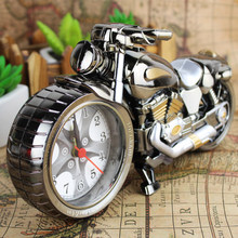 Motorcycle Alarm Clock Retro Alarm Clock Creative Table Clock Home Deco Spray Paint Motorcycle Models Modeling Student Gifts(China)