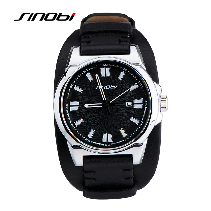SINOBI Military Sports Men Wrist Watches Leather Watchband Top Luxury Brand Army Male Geneva Quartz Clock Erkek Saatler 2016 sinobi sports chronograph men s wrist watches digital and quartz boys military diving watchband top luxury brand male clock 2016
