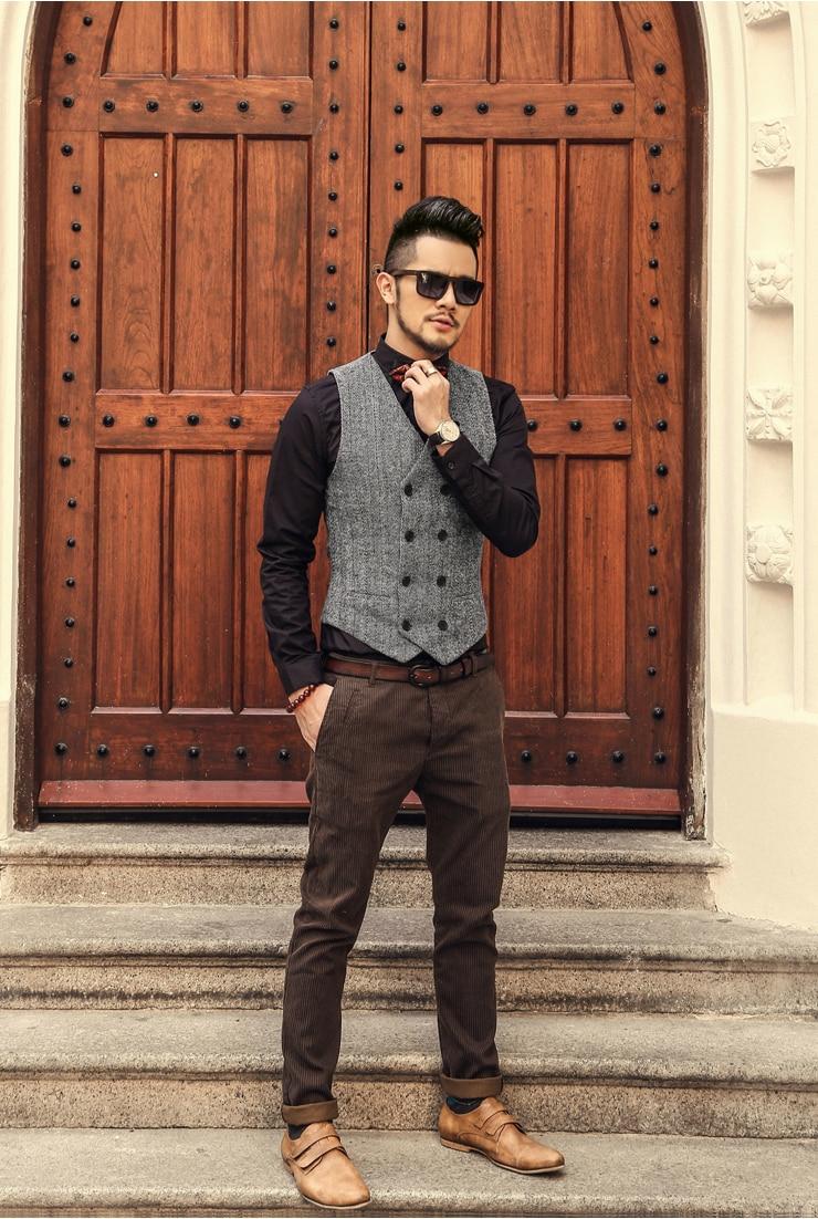 New Mens Slim Double Breasted Woolen Waistcoat V Neck Solid Color Sleeveless Jacket Dark Grey/Light Grey /Khaki Waistcoat J577