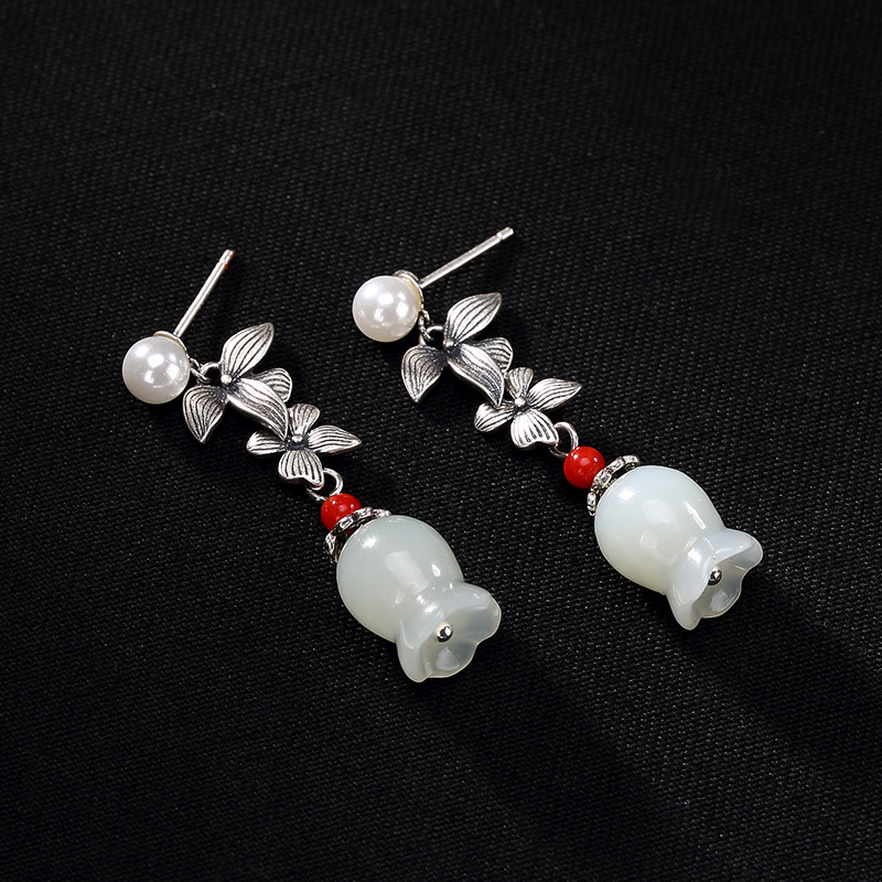 2018 Hot Sale Brinco Restoring Ancient Ways Hetian Jade Wholesale Pearl Ms Lily Of The Valley Of High-grade Pendant Earrings high grade non woven fabric of green chinese trumpet creeper wallpaper europe type restoring ancient ways sitting room bedroom
