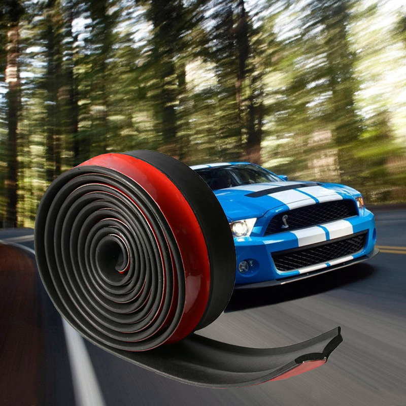 2.5m 65mm Width Car Protectors Front Bumper Lip Splitter Car Sticker Body Kits Spoiler Bumpers Valance Chin Car Rubber Strip(China)