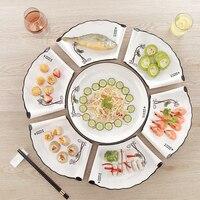 Combination Platter Fan shaped dish set Creative Dish Platter Tableware Reunion Plate Set Ceramic Dinnerware Bone China