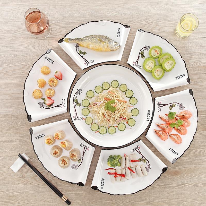 Ensemble plat en forme d'éventail ensemble plat créatif plateau vaisselle vaisselle réunion assiette ensemble vaisselle en céramique porcelaine