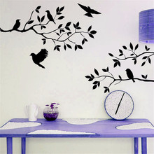 Arts Home Decor Wallpapers Flying Birds Tree Wall Stickers Removable Decal Posters DIY Living Room Mural Decor