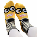 Novelty Socks Absorb Sweat Female Calcetines Fashion Women Minion Cartoon Autumn Print Design Cotton Girl Tube Meias Hot W033