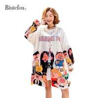 2019 Spring and summer cartoon guitar pattern long shirts women fashion design shirts Full Sleeves Rivet