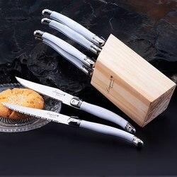 6 sztuk noże ze stali nierdzewnej styl laguiole zestaw noży do steków w drewnie szuflada taca białe uchwyty kuchenne zestaw sztućców strona główna sztućce w Noże obiadowe od Dom i ogród na